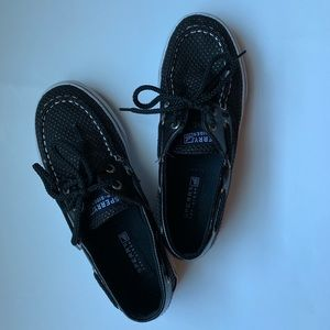 Sperry Girls Black Topsiders Never Worn Size 2